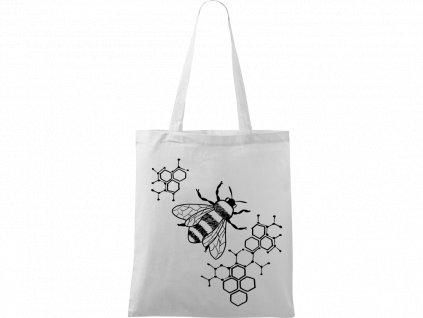 Plátěná taška Handy bílá s černým motivem - Včela s plástvemi