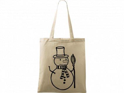 Plátěná taška Handy přírodní s černým motivem - Sněhulák s koštětem