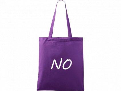 Plátěná taška Handy fialová s bílým motivem - NO