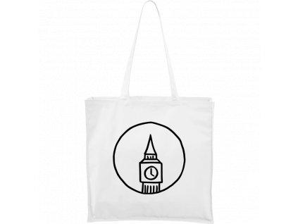 Plátěná taška Carry bílá s černým motivem - Big Ben