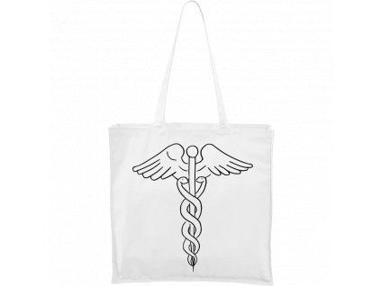 Plátěná taška Carry bílá s černým motivem - Caduceus