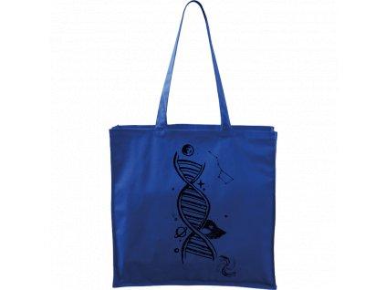 Plátěná taška Carry modrá s černým motivem - DNA