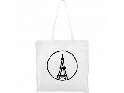 Plátěná taška Carry bílá s černým motivem - Eiffelovka
