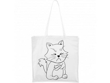 Plátěná taška Carry bílá s černým motivem - Grumpy Kitty