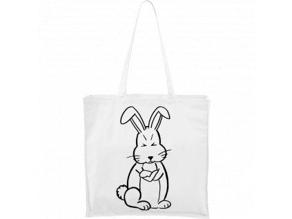 Plátěná taška Carry bílá s černým motivem - Grumpy Rabbit