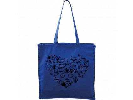 Plátěná taška Carry modrá s černým motivem - Chemikovo srdce