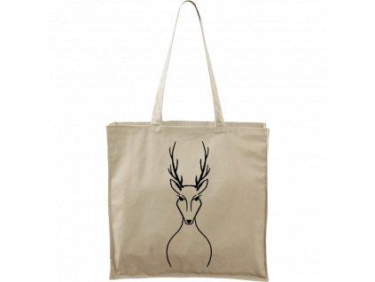 Plátěná taška Carry přírodní s černým motivem - Jelen