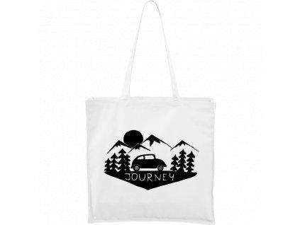 Plátěná taška Carry bílá s černým motivem - Journey