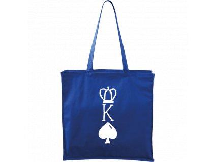 Plátěná taška Carry modrá s bílým motivem - King