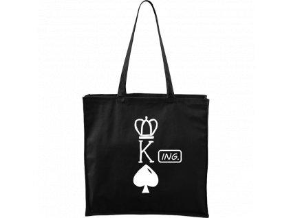 Plátěná taška Carry černá s bílým motivem - King - Ing.