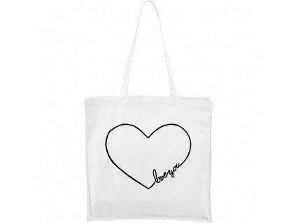 """Plátěná taška Carry bílá s černým motivem - """"Love You"""" srdce"""