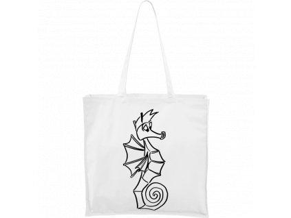 Plátěná taška Carry bílá s černým motivem - Mořský koník
