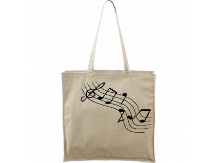 Plátěná taška Carry přírodní s černým motivem - Noty šikmě