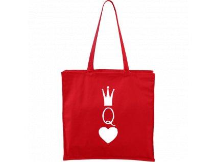 Plátěná taška Carry červená s bílým motivem - Queen