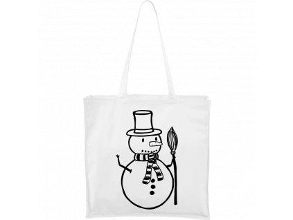 Plátěná taška Carry bílá s černým motivem - Sněhulák s koštětem