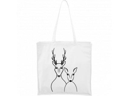 Plátěná taška Carry bílá s černým motivem - Srnka & Jelen