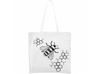 Ručně malovaná plátěná taška Carry - Včela s plástvemi (Barva motivu ČERNÁ, Barva tašky PŘÍRODNÍ)