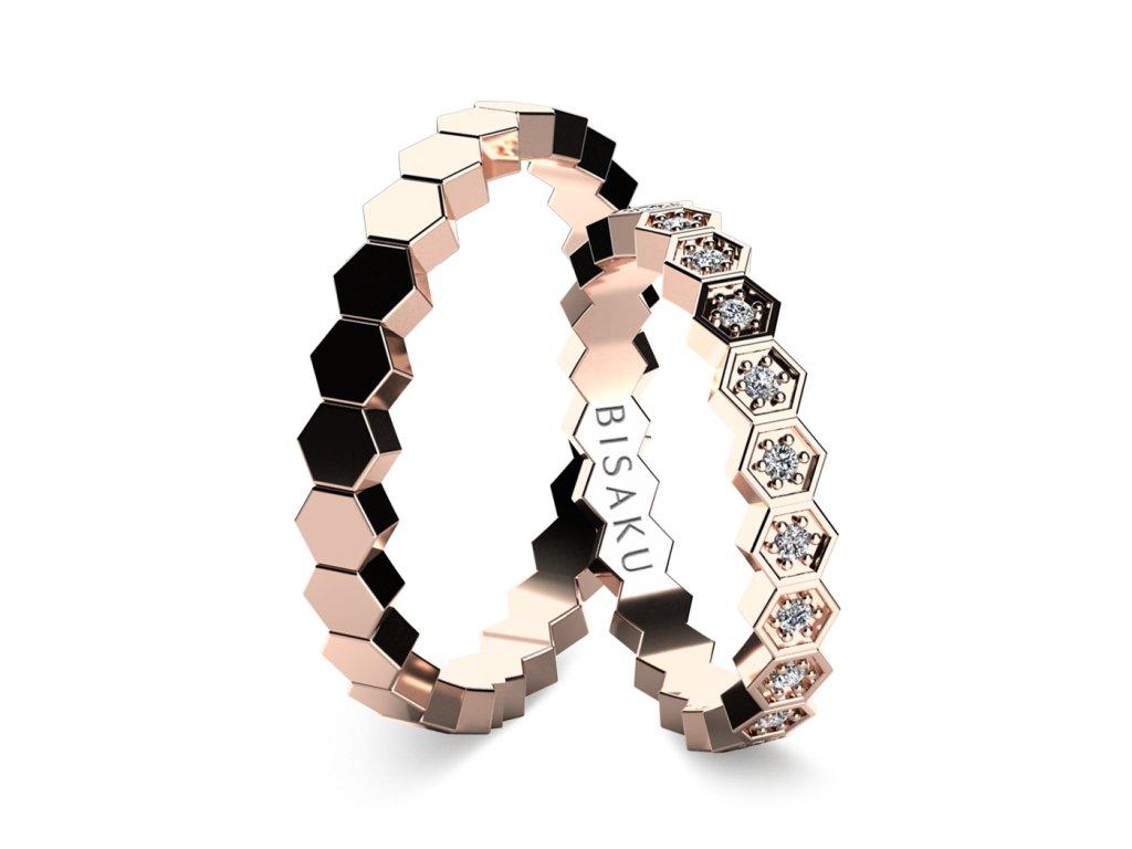 snubni prsteny ruzove zlato Favo