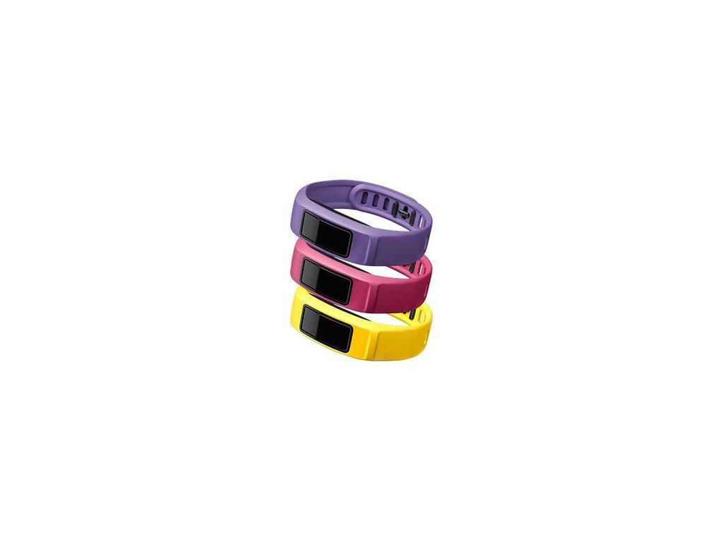Garmin řemínky pro vivofit2 (3 ks.) canary, pink, violet (velký průměr)
