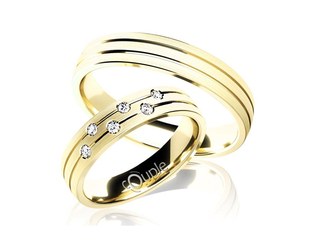 Snubní prsten Couple Myrtos ze žlutého zlata
