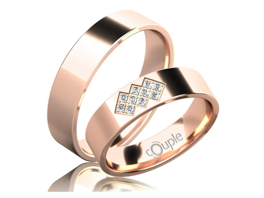 Snubní prsten Couple Flamenco z růžového zlata