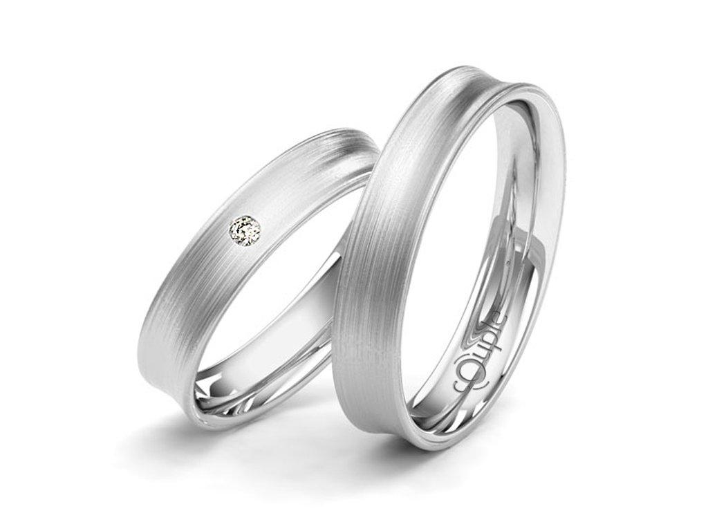 Snubní prsten Couple Paradise z bílého zlata
