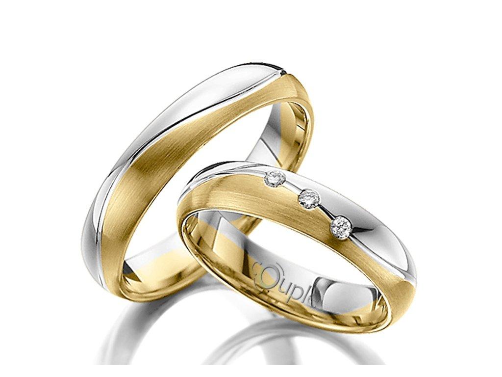 Snubní prsten Couple Varadero kombinace žluté a bílé zlato