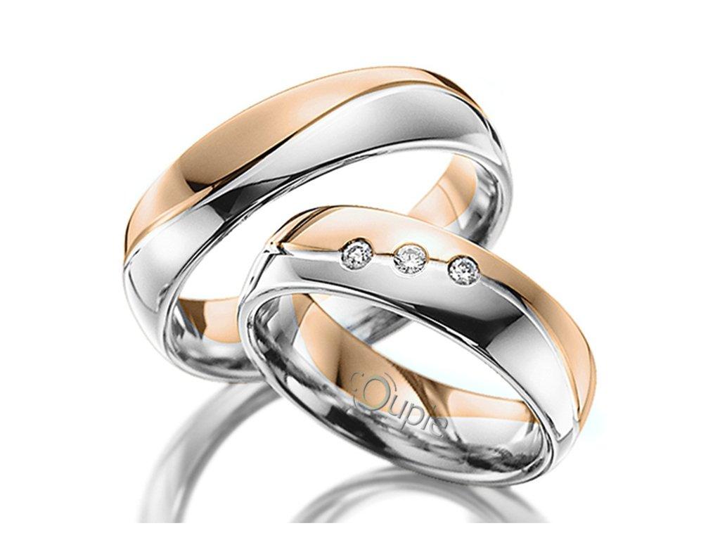 Snubní prsten Couple Varadero kombinace bílé růžové zlato