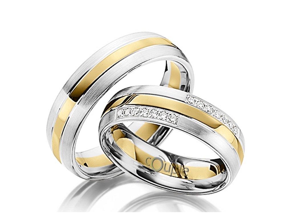 Snubní prsten Couple Grondos kombinace bílé žluté zlato