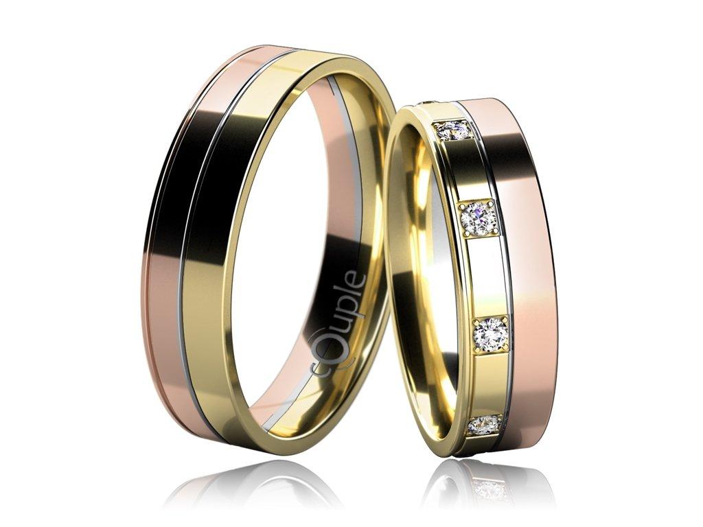 Snubní prsten Couple Mauricius kombinace růžové žluté bílého zlato