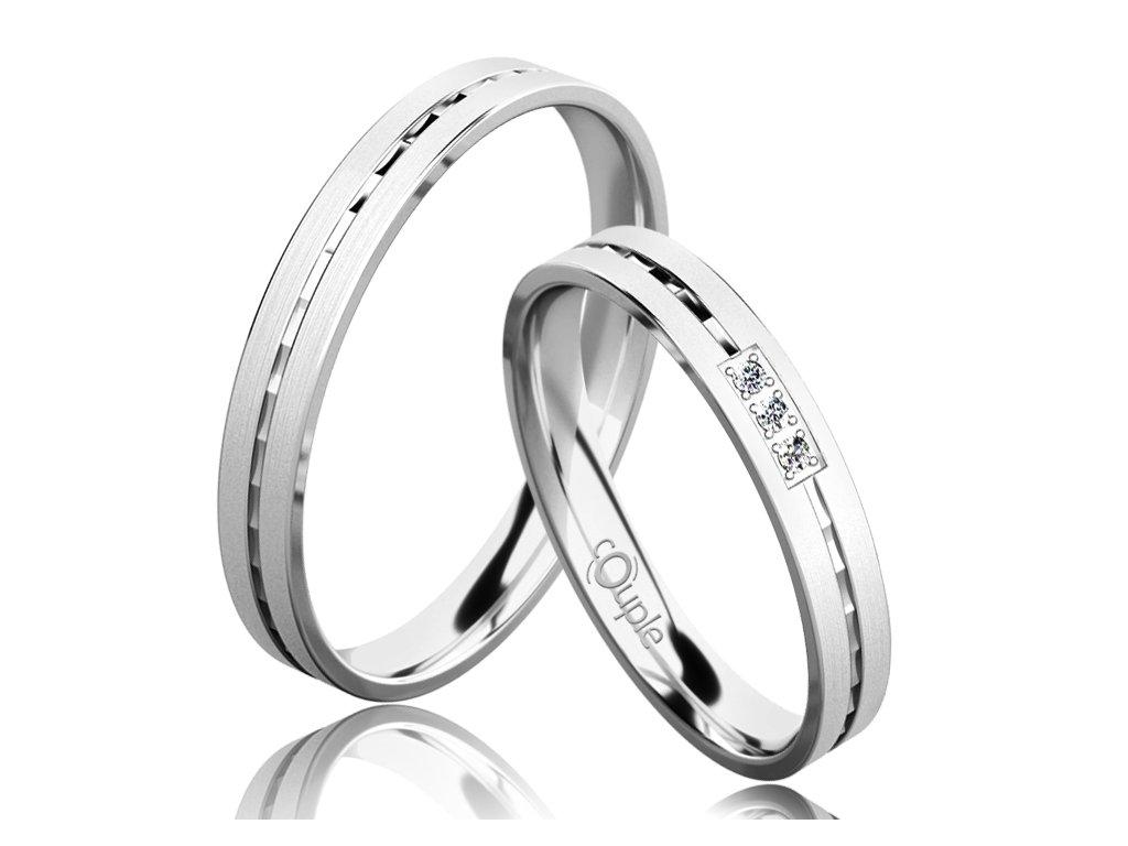 Snubní prsten Couple Egremni z bílého zlata