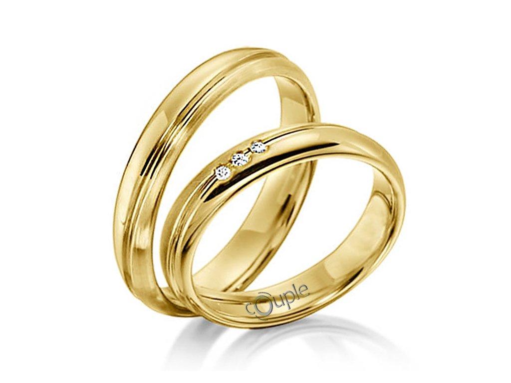 Snubní prsten Couple Navagio ze žlutého zlata
