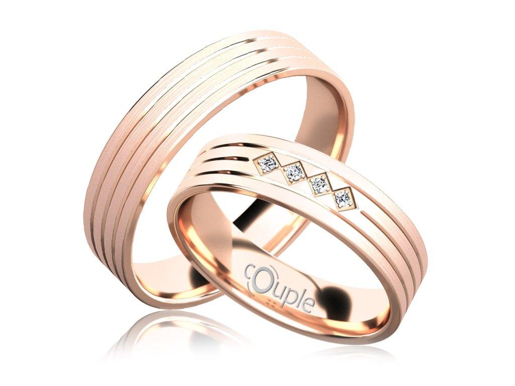 Snubní prsten Couple Lopes z růžového zlata