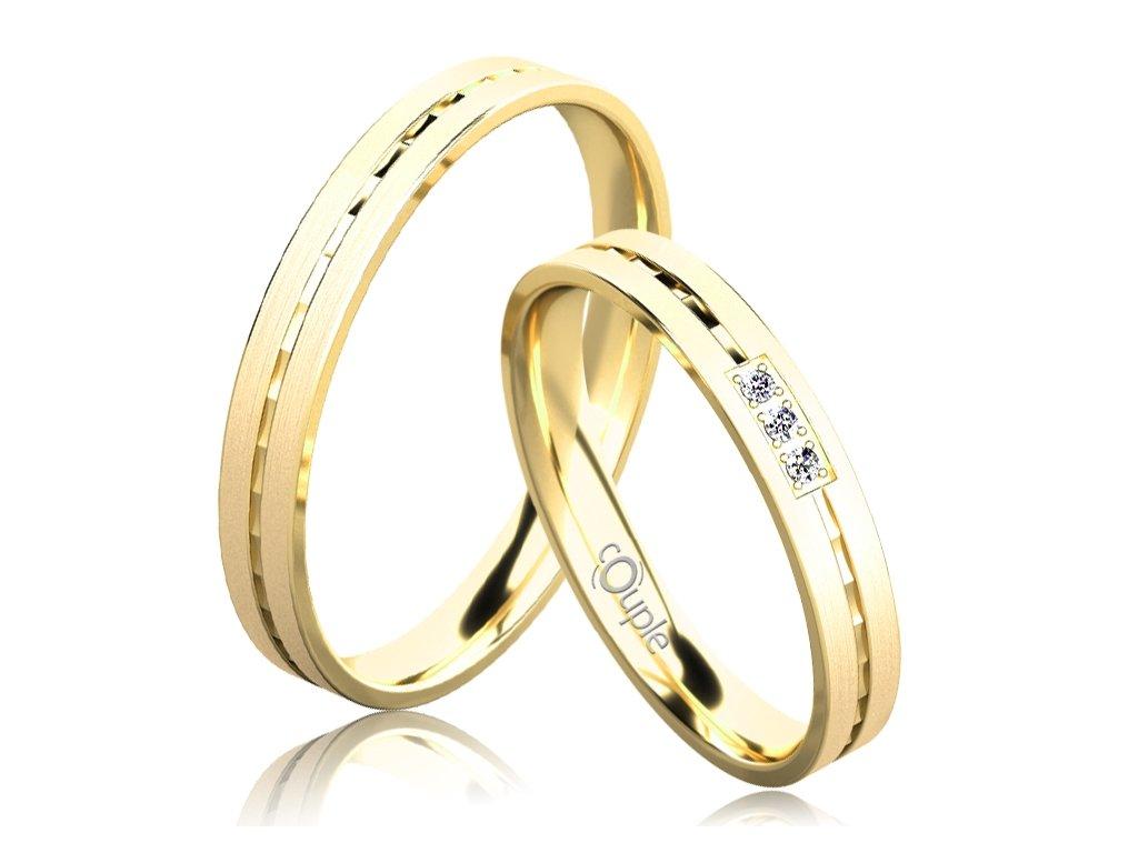 Snubní prsten Couple Egremni ze žlutého zlata