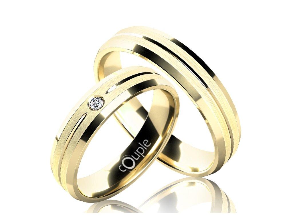 Snubní prsten Couple Waikiki ze žlutého zlata