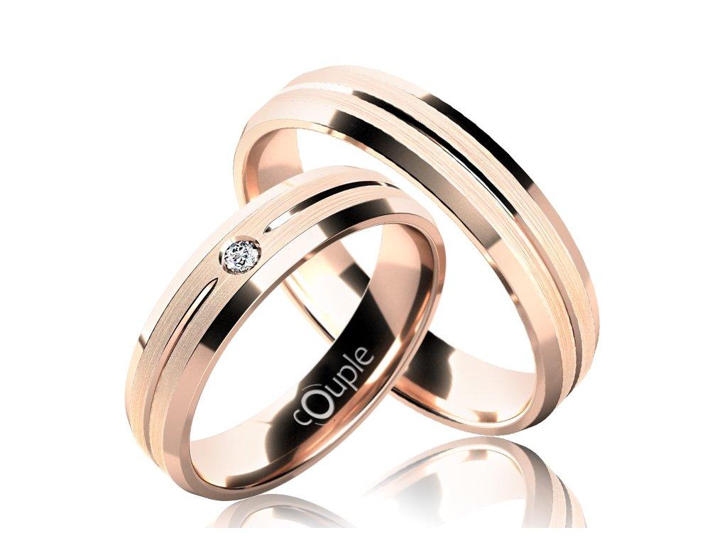 Snubní prsten Couple Waikiki z růžového zlata