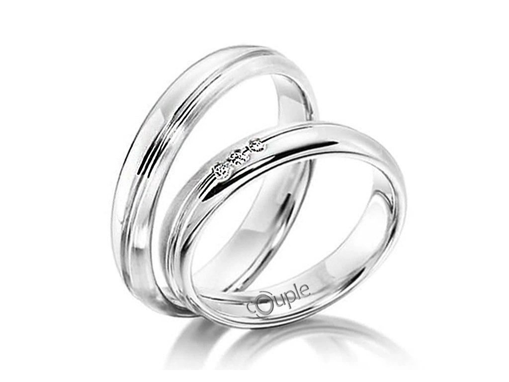 Snubní prsten Couple Navagio z bílého zlata