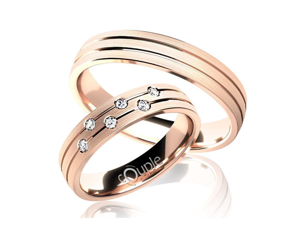 Snubní prsten Couple Myrtos z růžového zlata