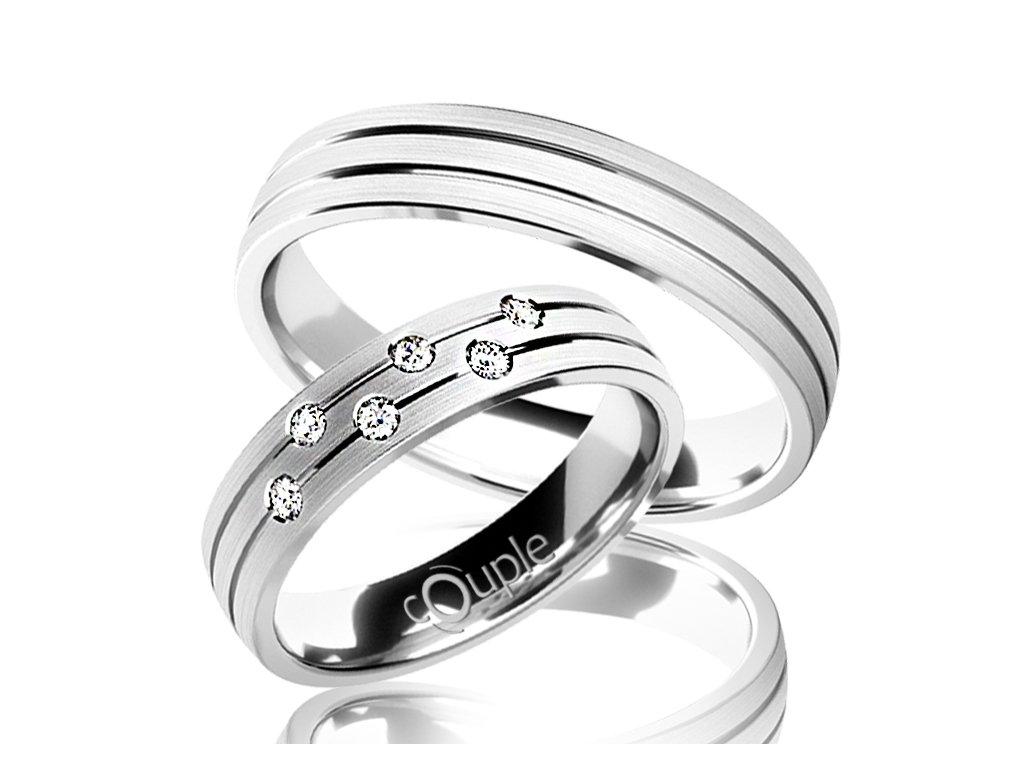 Snubní prsten Couple Myrtos z bílého zlata