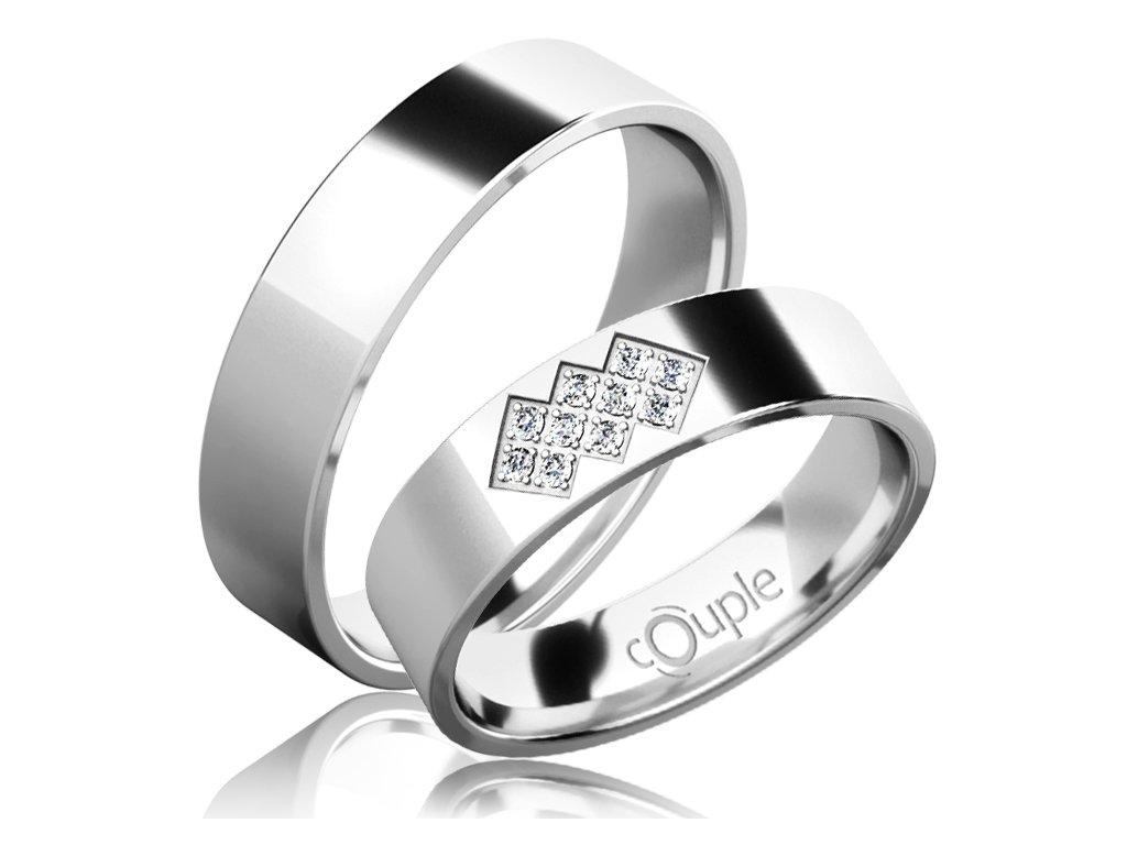 Snubní prsten Couple Flamenco z bílého zlata