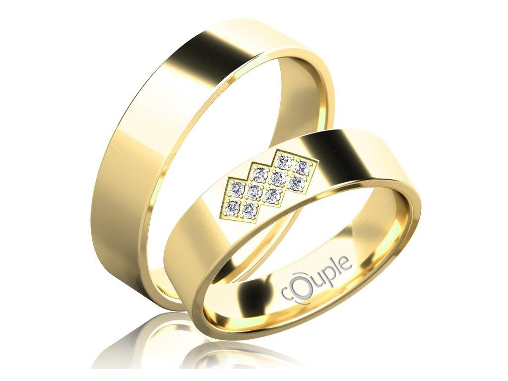 Snubní prsten Couple Flamenco ze žlutého zlata