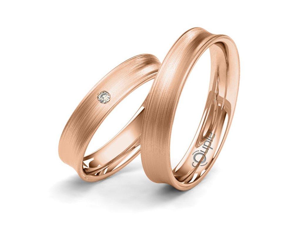 Snubní prsten Couple Paradise z růžového zlata