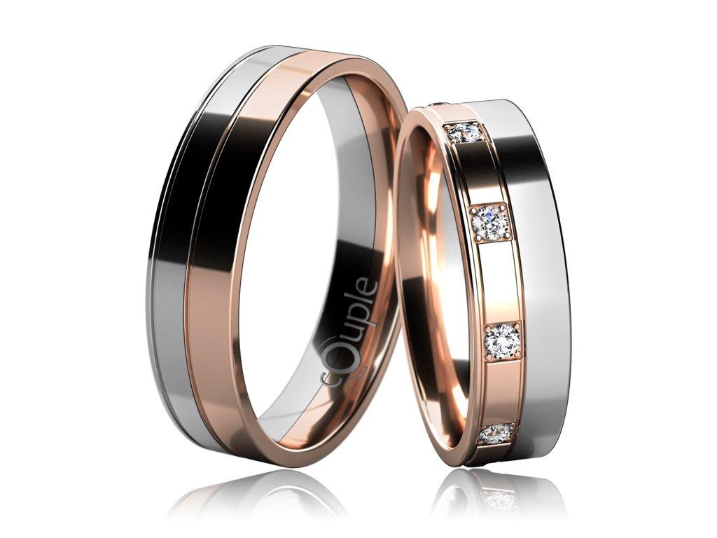 Snubní prsten Couple Mauricius kombinace růžové bílé zlato
