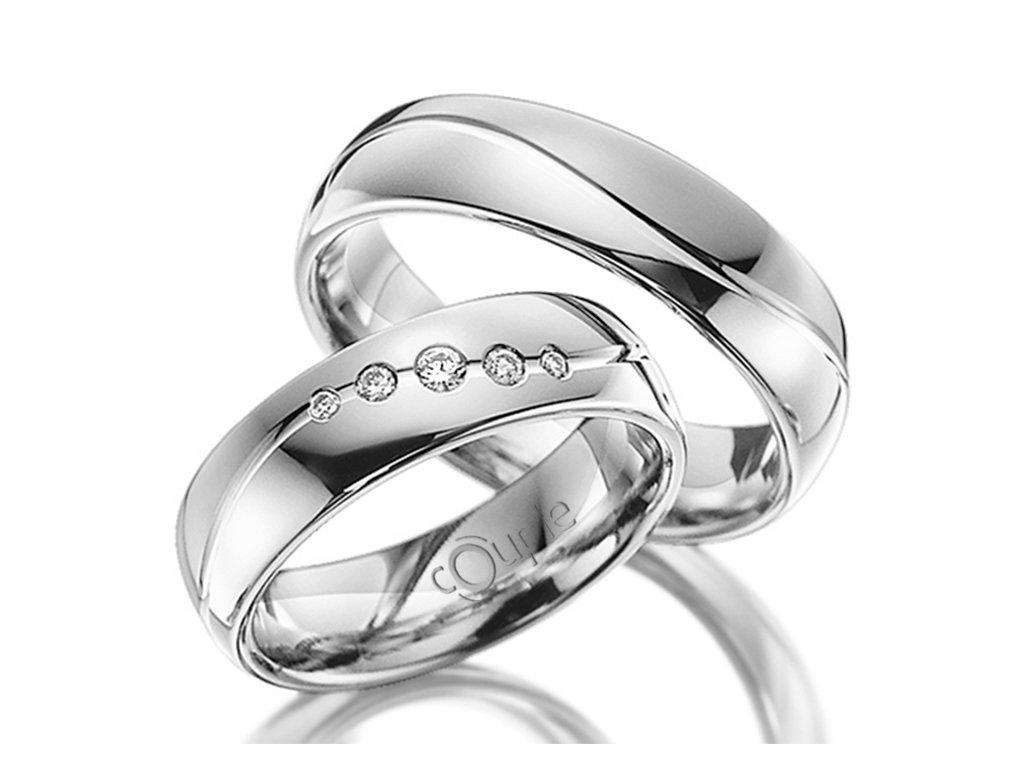 Snubní prsten Couple Mahogany z bílého zlata