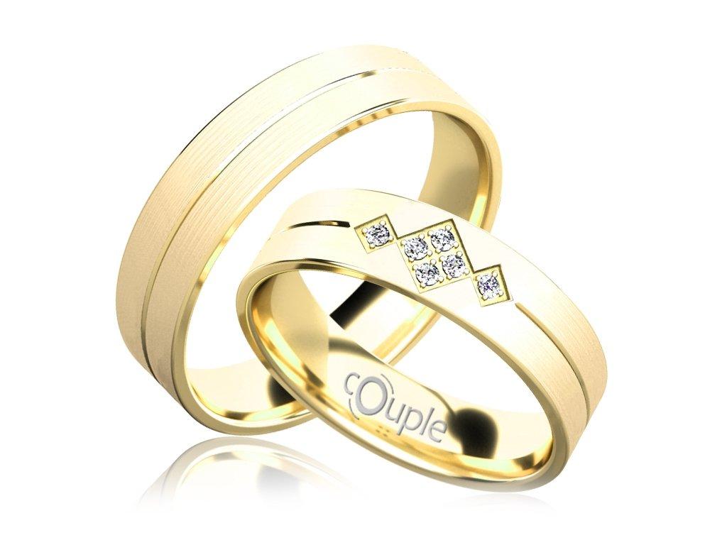 Snubní prsten Couple Rendezvous ze žlutého zlata