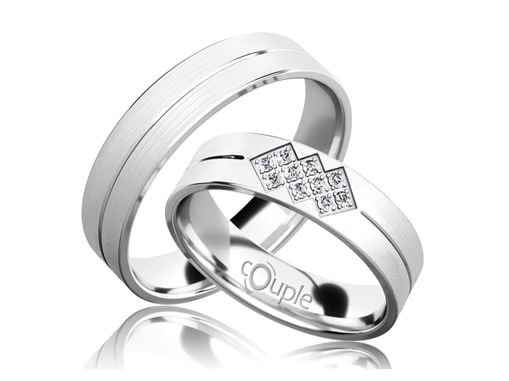 Snubní prsten Couple Palm z bílého zlata