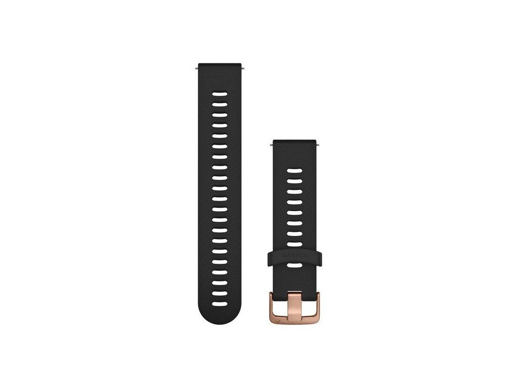 Garmin řemínek Quick Release 20mm, silikonový černý, růžovozlatá přezka