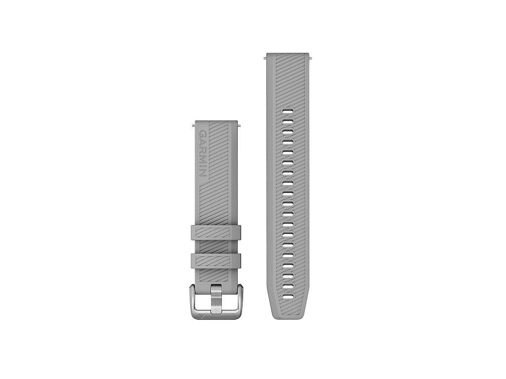 Garmin řemínek Quick Release 20mm, silikonový šedý, stříbrná přezka