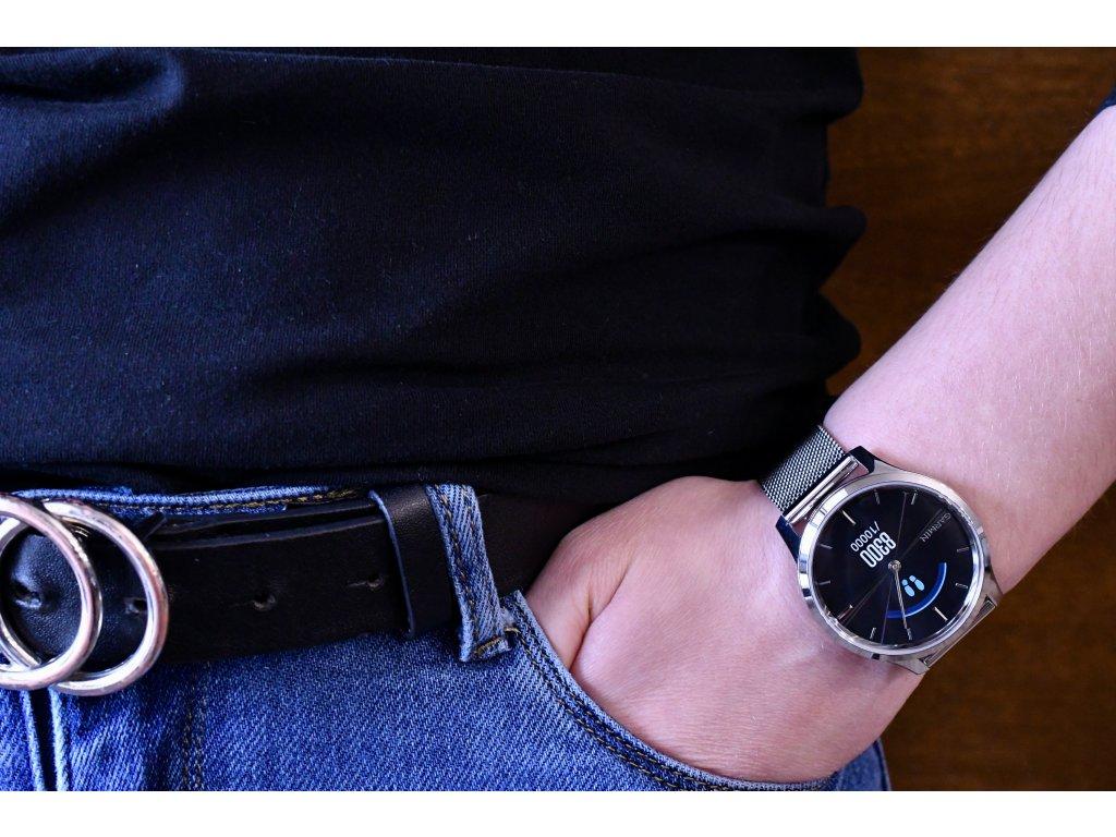 Garmin vívomove3 Luxe, Silver/Milanese Band 010-02241-23 Premium  + možnost výměny do 90 dní + dámské náušnice Guess v hodnotě 990 Kč