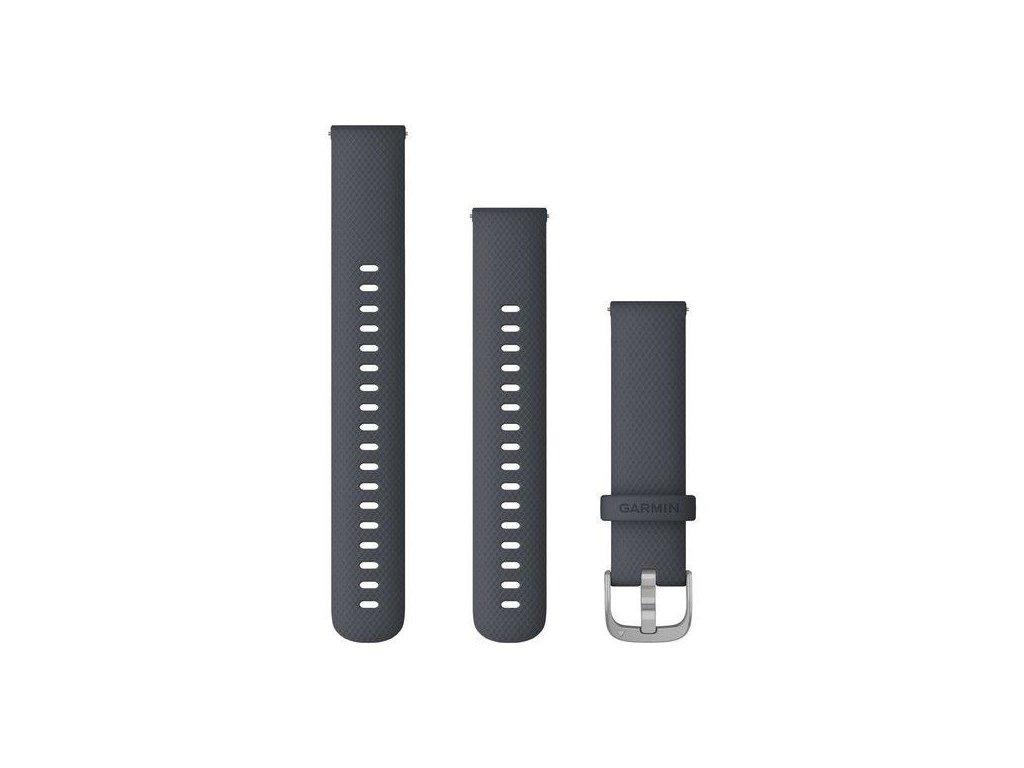 Garmin řemínek vívoactive4S Quick Release 18mm, silikonový tmavě šedý, stříbrná přezka
